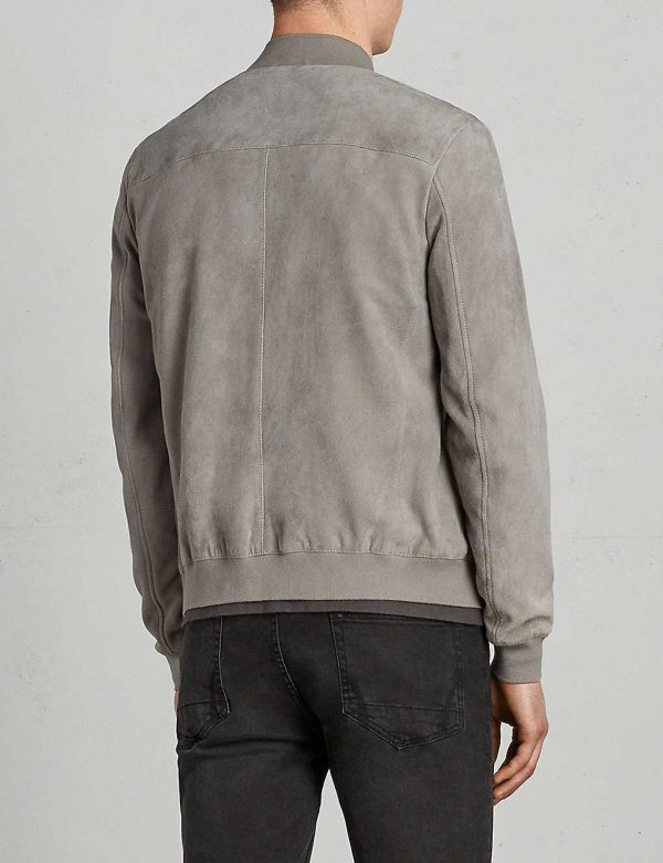 Kemble Suede Grey Bomber Jacket back