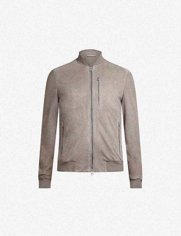 Kemble Suede Grey Bomber Jacket front