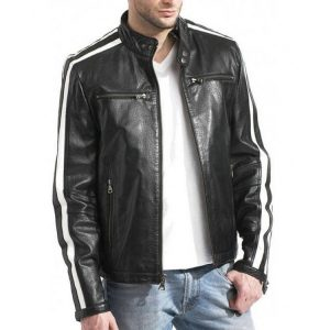 Leon Scott Kennedy Resident Evil White Stripes Leathe Jacket