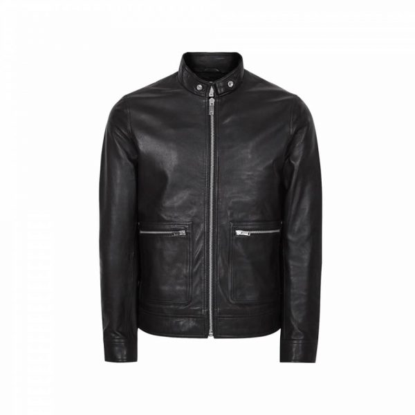 Men Reiss Black Leather Jacket