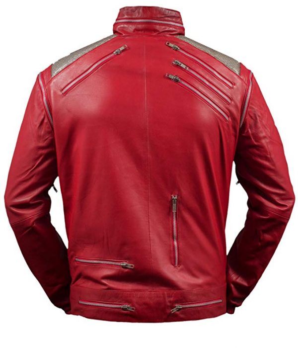 Michael Jackson Beat It Red Leather Jacket back