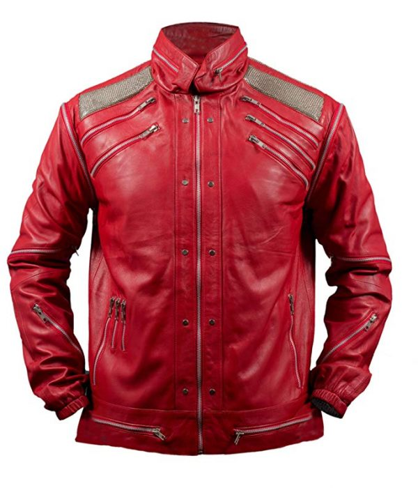 Michael Jackson Beat It Red Leather Jacket front