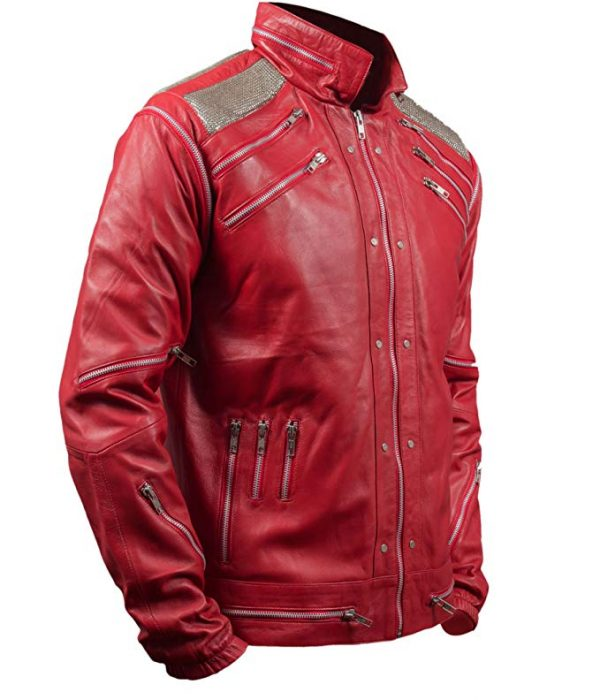 Michael Jackson Beat It Red Leather Jacket side