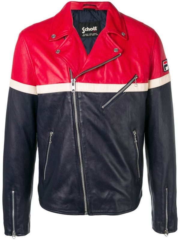 Navy, Red And White Lambskin Contrast Panels Leather Jacket