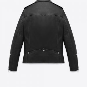 Saint Laurent Black Lambskin Biker Jacket back