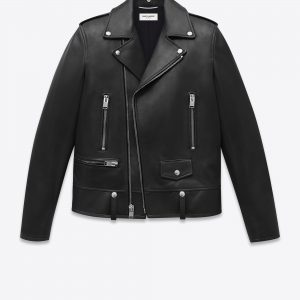 Saint Laurent Black Lambskin Biker Jacket front