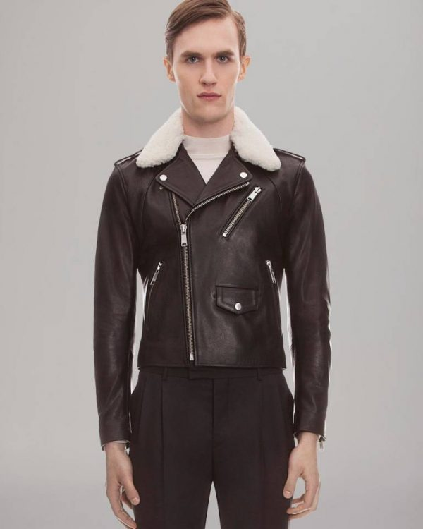Sandro Shearing Fit Biker Leather Jacket