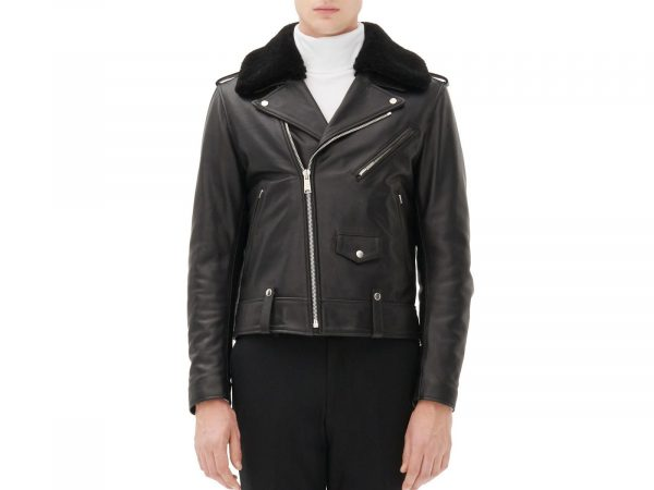 Sandro Shearling Biker Black Leather Jacket