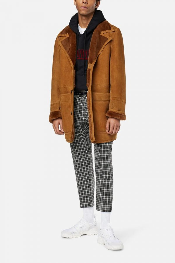 Shearling With Patch Pockets Brown Jacket