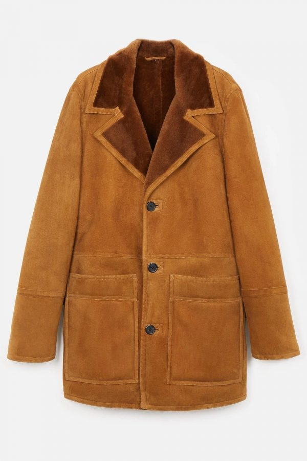 Shearling With Patch Pockets Brown Jacket front