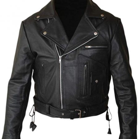 Terminator 2 Arnold Genuine Black Leather Jacket front