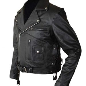 Terminator 2 Arnold Genuine Black Leather Jacket side