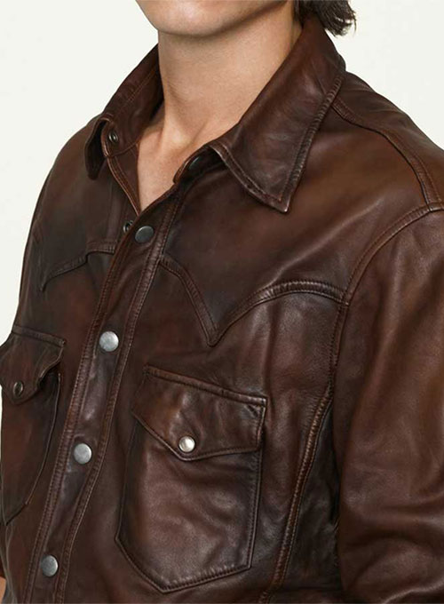 V Tab Brown VIntage Leather Shirt
