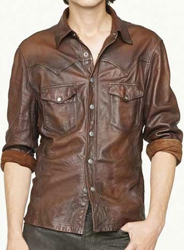 VIntage V Tab Brown Leather Shirt