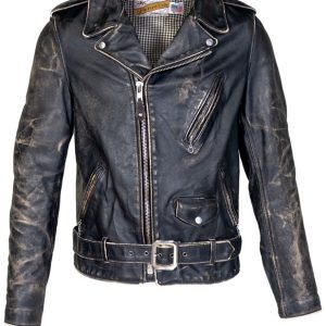 Vintaged Fitted Motorcycle Black Leather Jacket front