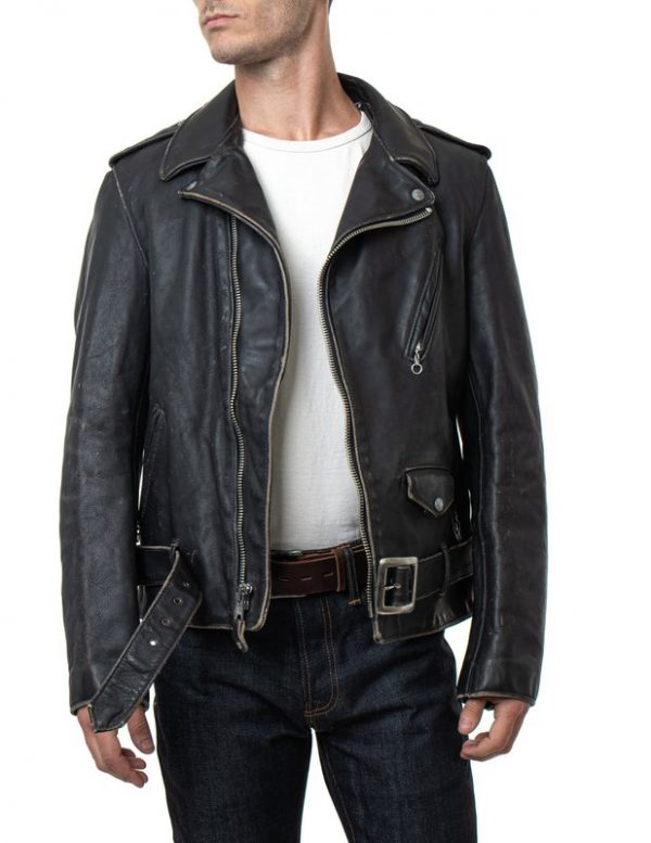 Vintaged Fitted Motorcycle Black Leather Jacket full front