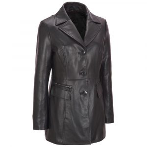 Women Black Petite Trench Coat