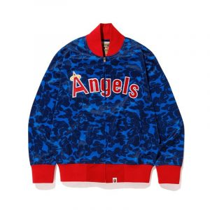 Angels BAPE X Mitchell Ness Mlb Blue Varsity Jacket