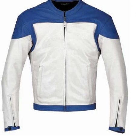 Blue and White Motorcycle Leather Jacket