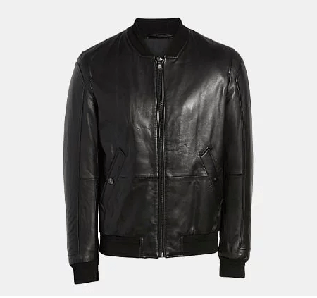 Boss Arinos Leather Bomber Jacket