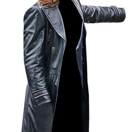 Doctor Sivana Shazam Fur Leather Trench Coat