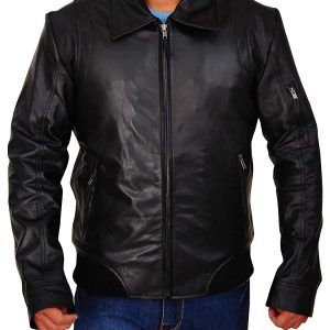 Men Black Bomber Style Real Smooth Leather Jacket