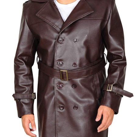 Mens Fashion Outerwear Vintage Warm Winter Military Trench Coat
