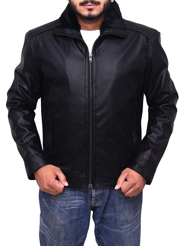 Mens Genuine Motorcycle Bomber Leather Jacket Shearling Collar