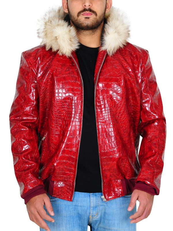 Mens Red Crocodile Shearling Leather Jacket