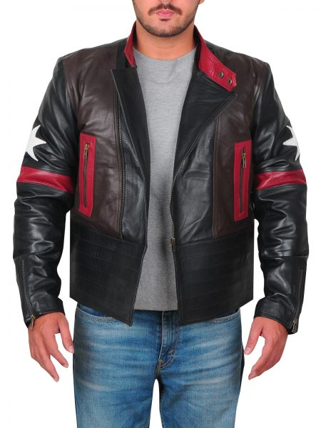 Mens Star Patch Leather Jacket
