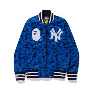 New York Yankees Bape X Mitchell & Ness Mlb Blue Varsity Jacket