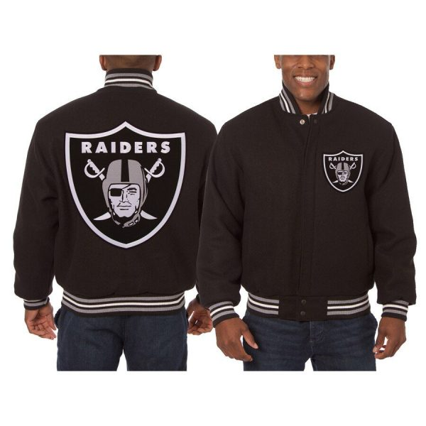 Oakland Raiders Brown Embroidered Wool Jacket