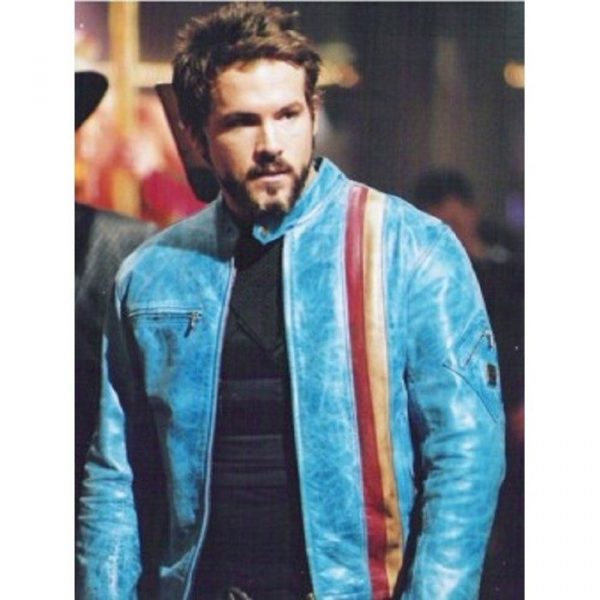 Ryan Reynold Blue Leather Jackets