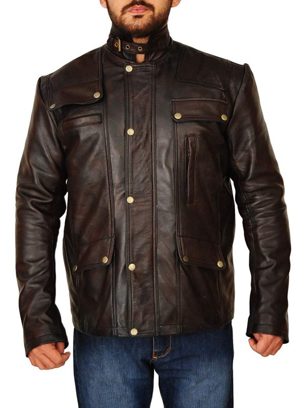 Supernatural Pockets Style Distressed Brown Leather Jacket