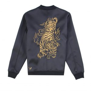 Tiger Ornament Strapped Premium Black and gold Bomber Jacket