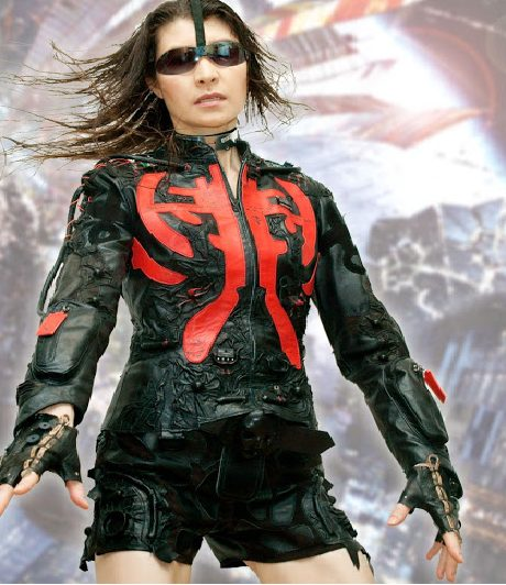 Women Cyberpunk Red Black Color Leather Jackets
