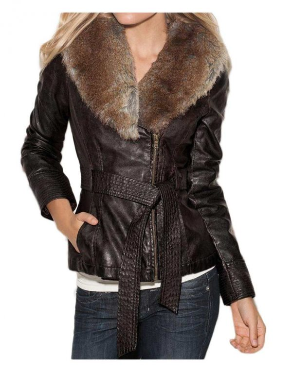 Womens Faux Fur Collar Brown Leather Jacket