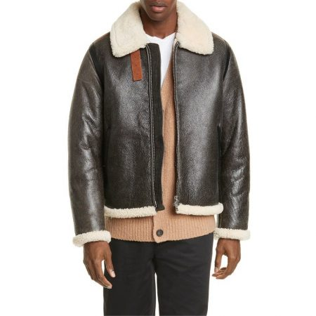Acne Studios Leather Bomber Jacket with Geniuine Shearling Trim