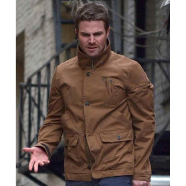 Arrow Stephen Amell Oliver Queens Brown Leather Jacket