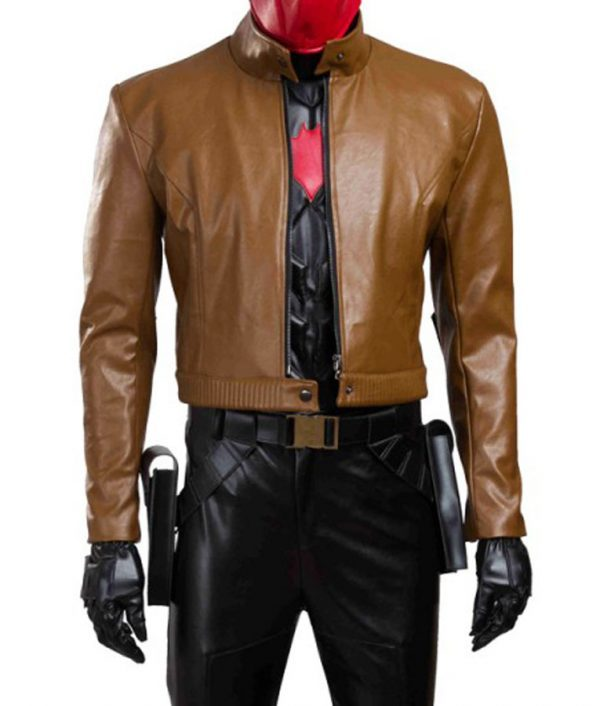 Batman Under The Red Hood Jason Todd Brown Leather Jacket