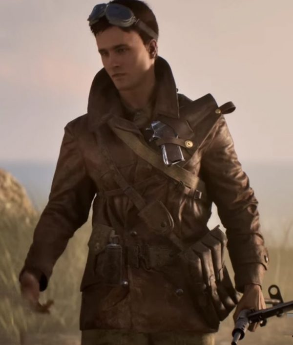 Battlefield 5 Double Breasted Billy Bridger Brown Leather Jacket