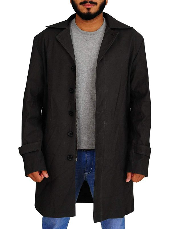 Dark Grey Single Breasted Cotton Trench Long Coat