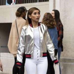 Dollface Brenda Song Madison Maxwell Silver Bomber Jacket
