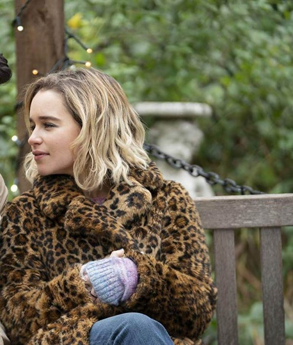 Emilia Clarke Last Christmas Kate Animal Printed Coat