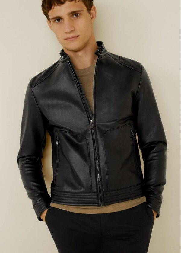 Mango Quilted Panels Black Biker Leather Jacket