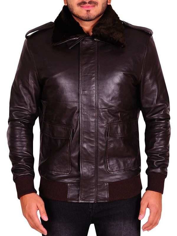 Men A-2 Style Distressed Bomber Flight Brown Real Leather Jacket
