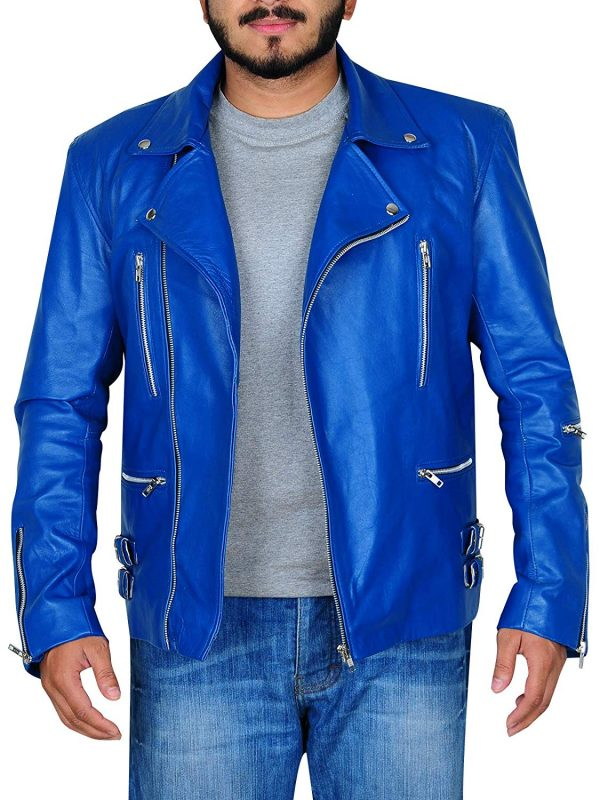 Men Biker Blue Reckless Quilt Classic Leather Jacket