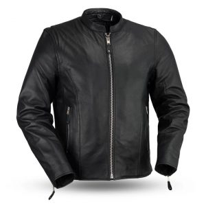 Mens Ace Clean Cafe Style Leather Jacket