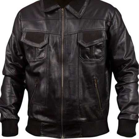Mens American Bomber Black Genuine Leather Jacket