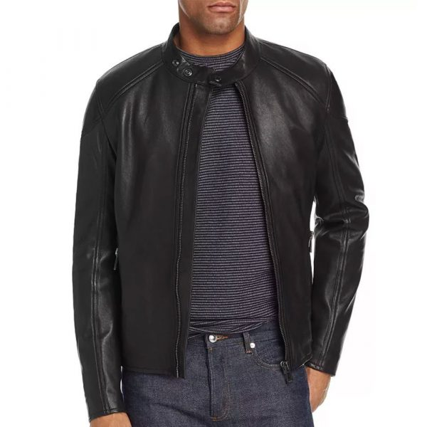 Mens Belstaff Black Racer Leather Jacket